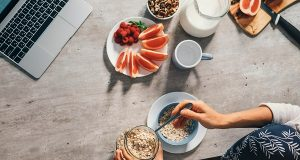Morning time - woman prepare healthy breakfast